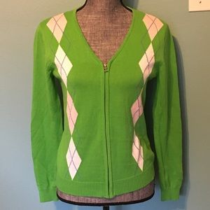 Izod Cardigan Argyle Sweater Lime Green Pink Small